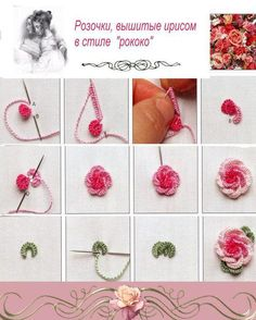 Step by step in pictures, TUTORIAL- Rose , embroidery