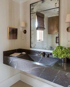 122 Incredible Half Bathroom Decor Ideas love the countertop - Marble Bathroom Dreams Half Bathroom Decor, Marble Bathroom Designs, Small Bathroom Decor, Small Bathroom, Bathroom Renovations, Half Bathroom, Black Marble Bathroom, Bathroom Design, Beautiful Bathrooms