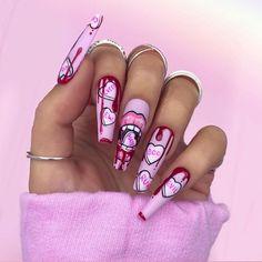 Halloween Acrylic Nails, Bling Acrylic Nails, Halloween Nail Designs, Best Acrylic Nails, Gel Nails, Nail Polish, Dope Nail Designs, Cute Acrylic Nail Designs, Nail Swag