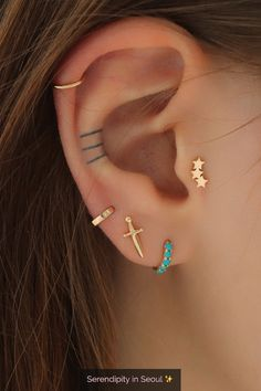 Tiny Hoop Earrings Minimalist Earrings Gold Huggies TRINITY EARRINGS Gold Huggie Earrings Turquoise Huggie Hoops Dainty Silver Huggies