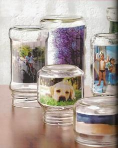 images in recycled glass containers - pictureframe Glass Containers, Glass Jars, Bottles And Jars, Mason Jars, Exposition Photo, Photos Booth, Photo Displays, Display Photos, Display Ideas