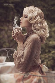 Blonde with a perfect styling in cream dress drink a coffee #hot #sexy #hairstyles #hairstyle #hair #long #short #medium #buns #bun #updo #braids #bang #greek #braided #blond #asian #wedding #style #modern #haircut #bridal #mullet #funky #curly #formal #sedu #bride #beach #celebrity #simple #black #trend #bob #girls
