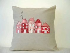 Cushion - applique houses