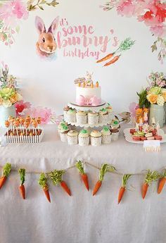 The most amazing Bunny Themed Birthday Party created by our own design expert Emily Kalparda. Eat your heart out Peter Rabbit. No detail was overlooked—from a garden style lunch buffet to sweet carrot decor to bunny themed treats galore! Peter Rabbit Party, Peter Rabbit Birthday, Peter Rabbit Cake, Easter Birthday Party, First Birthday Parties, First Birthdays, Bunny Birthday Cake, Birthday Kids, Spring Birthday Party Ideas