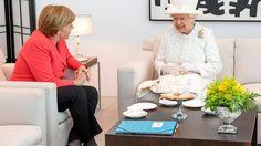 Tea Time Chancellor Angela Merkel and her HM Queen Elizabeth II