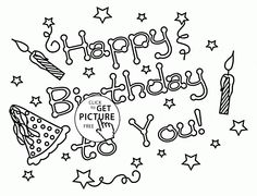 Adult Coloring Page Happy Birthday Paper Art Coloring Pages