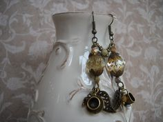 TEA WITH HONEY MIXED MEDIA EARRINGS-VINTAGE PORTAL