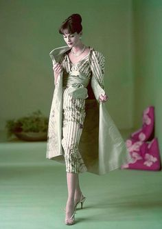 1957 Anne St. Marie in dress and coat of pale flowers printed on silk taffeta…