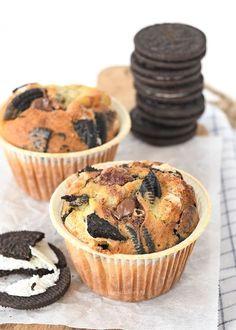 Oreo-Nutella muffins (Laura's Bakery) Muffin Nutella, Nutella Snacks, Nutella Muffins, Nutella Cupcakes, Nutella Recipes, Oreo Cupcakes, Cupcake Cakes, Muffin Recipes, Breakfast