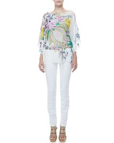 Short+Classic+Floral+Silk+Caftan+&+5-Pocket+Solid+Skinny+Jeans+by+Roberto+Cavalli+at+Neiman+Marcus.