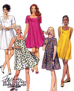 Sewing pattern - McCalls 5441, Misses Dresses. Set of pullover trapeze shaped dresses with neckline variations and front princess seaming are