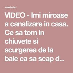 VIDEO - Imi miroase a canalizare in casa. Ce sa torn in chiuvete si scurgerea de la baie ca sa scap de mirosul urat? Cross Stitch Charts, Cleaning Hacks, Diy Home Decor, Diy And Crafts, Deodorant, Projects To Try, Remedies, Health Fitness, Homemade