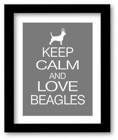 Beagle Art, Keep Calm and Love Beagles Print, Modern Wall Decor, Poster by DIGIArtPrints on Etsy