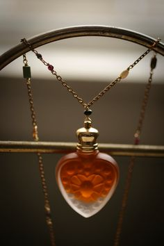 Perfume Bottle Heart Necklace - The Queen of Hearts - Natural Rose Oil in Glass Heart Pendant, gemstone chain by Scarlett Garnet
