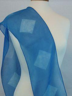 Shibori Scarf Hand Dyed Silk Chiffon Blue by FlingamoScarves