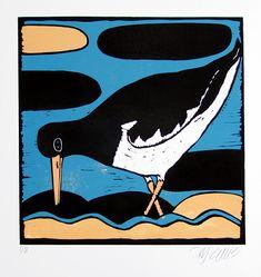 linocut oystercatcher stylized print bird print wader