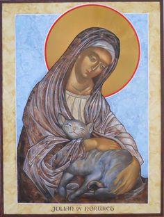 Julian of Norwich icon by Nancy Matthias Christian Paintings, Christian Art, Catholic Saints, Patron Saints, Religious Icons, Religious Art, I Love Cats, Crazy Cats, Patron Saint Of Cats