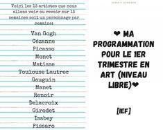 Ma programmation pour le 1er trimestre en Art - niveau libre Gauguin, Manet, Renoir, Matisse, Toulouse, Picasso, Van Gogh, Program Management, Persona