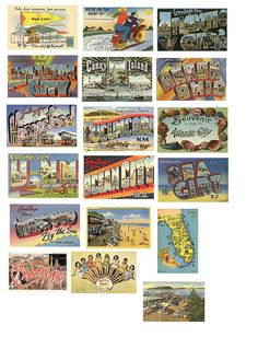 Vintage postcards, free download