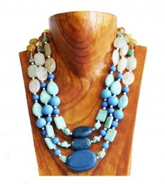 Turqouise, gold and bone 3 string gemstone necklace