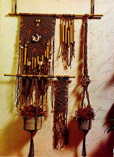 Boho Hippie Macrame Wall Hanging and Small Basket Holder Vintage PDF Macrame Pattern by MomentsInTwine on Etsy