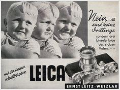 """""""Non, ce ne sont pas des triplés, mais trois tirages du même père"""" nous dit littéralement cette ancienne publicité Leica diffusée en 1941."""