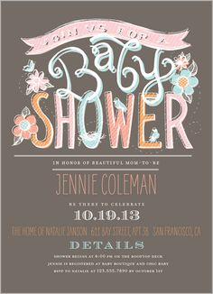 chalk pastels girl baby shower invitation