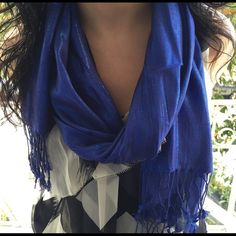Forever 21 Blue Shimmer Glitter Scarf Royal blue glittery scarf from F21. Used it twice. Adds a nice pop of color to an all black outfit. I also have the black version of this listed. NO PAYPAL OR TRADES.                              Blog: willbakeforshoes.com Twitter: @willbakeforshoe Instagram: @willbakeforshoes Forever 21 Accessories Scarves & Wraps