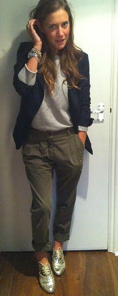 Gold brogues + navy blazer + chinos + grey tee on Laura Fantacci, wearingittoday.blogspot.com