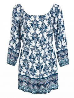Blue Off Shoulder Floral Print 3/4 Sleeve Romper Playsuit Dresses #Tops #Swimwear #Jeans #Jackets #Skirts #Shoes