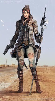 Mercenary in remote part of the world, cyberpunk inspiration  La Marca del Este