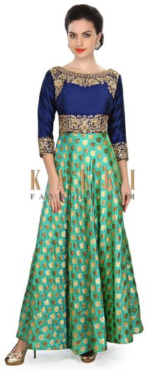 Buy Online from the link below. We ship worldwide (Free Shipping over US$100) Price- $499 Click Anywhere to Tag http://www.kalkifashion.com/green-dress-featuring-in-zardosi-embroidery-only-on-kalki.html