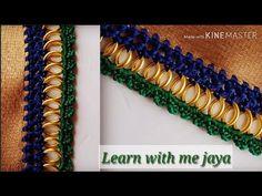 ಸೀರೆ ಕುಚ್ಚು tassels with beads designs tutorial for biginners. Saree Tassels Designs, Saree Kuchu Designs, Pattu Saree Blouse Designs, Blouse Neck Designs, Crochet Lace Edging, Crochet Flower Tutorial, Embroidery Suits Design, Creative Embroidery, Tatting Necklace