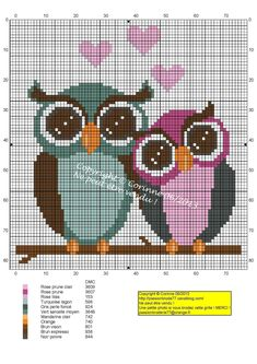 Chouetty Amoureuse (Owls in Love), designed by Corinne Thulmeaux, Passion Broderie 77 blogger.