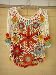 Handmade Crochet Floral Top Women Bohemian Clothing - Click Image to Close Pull Crochet, Mode Crochet, Crochet Granny, Irish Crochet, Knit Crochet, Cardigan Au Crochet, Crochet Cardigan, Floral Tops, Bikini Crochet
