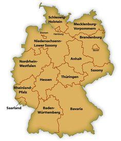 Map Of GERMANY States With Both GermanEnglish Names IMaps - Germany map english