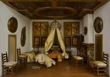 Nursery in Petronella Oortman's 17th c. doll's house.  The nursery in the doll's house is luxurious. It has a mirror in a gilt bronze frame, two paintings on the walls and a real ceiling painting. Wooden-framed silk screens, known as sashes, cover the windows. Rijksmuseum.