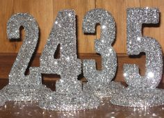GLITTERED TABLE NUMBERS Wedding Decor, 1-10 Black Tie, Shabby Chic,  Bridal Shower, Baby Shower, Sweet 16 Bat Mitvah Quinceanera. $95.00, via Etsy.