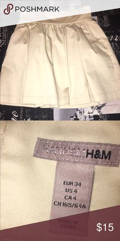 Gold H&M skirt Tag says size 4 but I would say it fits more like a 2. So versatile! Hint: I paired it with the white and cream J.Crew top also listed! H&M Skirts Mini