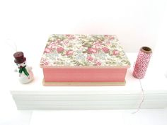 Floral Patterned Jewelry Box  Decoupaged with Vintage