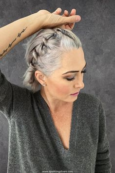 Grey Hair Updos, Grey Hair Dye, Short Grey Hair, Dyed Hair, Grey Hair Styles For Women, Short Hair Styles, Lilac Hair, Pastel Hair, Green Hair