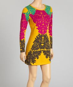 Loving this Yellow & Pink Foliage Scoop Neck Dress