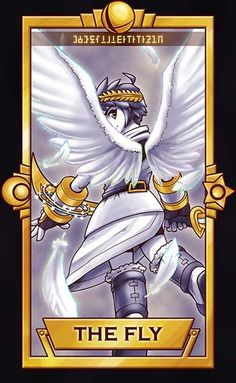 Pit from Kid Icarus!This is more like Card Captor Sakura than traditional tarot, because 'The Fly' doesn't exist in tarot haha. ============================= For more Super Smash Tarot Cards,. The Legend Of Zelda, Creepypasta Anime, Kid Icarus Uprising, Nintendo Super Smash Bros, Pokemon, Video Game Art, Video Games, Nintendo Characters, Mario Bros
