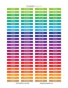 Free Headers Printable Planner Stickers - School - Today - CO-OP - To Do :: ECLP & Happy Planner