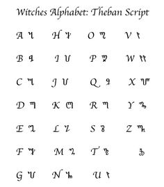witch's alphabet | The Witches Alphabet it would be interesting to write a letter to someone for them to decode it (; hehehehhe