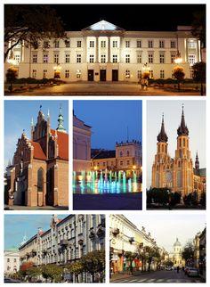 Gmach sandomierskiej komisji wojewódzkiej, klasztor Bernardynów, fontanny przy placu Konstytucji 3 Maja, Katedra, ulica Moniuszki, ulica Piłsudskiego