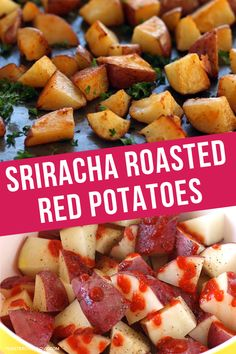 Crispy, creamy, and loaded with spicy flavor, these Sriracha Roasted Red Potatoes are the ultimate breakfast potato upgrade. They make a great side dish and are perfect for adding a little heat to your next breakfast burrito. Making Baked Potatoes, Roasted Potatoes, Potato Bites, Potato Skins, Breakfast Potatoes, Breakfast Burritos, Vegetarian Potato Recipes, Toaster Oven Recipes, Side Dish