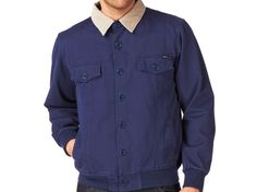 RVCA Denim Harry Jacket | The Style Dealer Denim Button Up, Button Up Shirts, Chef Jackets, High Fashion, Street Wear, Babe, Shirt Dress, Mens Tops, Dresses