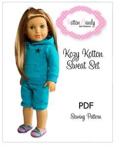 "PDF Sewing Pattern for 18"" American Girl Doll Clothes - Kozy Kotton Sweat Set ePattern. $4.49, via Etsy."