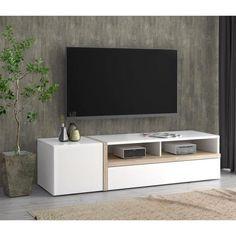 BIANKO Meuble TV contemporain blanc mat et brillant et décor chêne - L 168 cm - Achat / Vente meuble tv BIANKO Meuble TV BLCH - Cdiscount